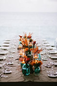 Teal and copper wedding Fall wedding table decor teal wedding Teal Fall Wedding, Dark Teal Weddings, Fall Wedding Table Decor, Orange Wedding Colors, Burnt Orange Weddings, Wedding Table Decorations, Decoration Table, Wedding Themes, Dream Wedding