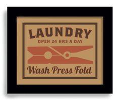 Laundry Room Decor Wall Art Print Kitchen Art Clothespin Laundry Sign. $18.00, via Etsy.