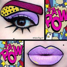 68 trendige Ideen für Pop-Art-Make-up-Halloween-Kostüme Pop Art Makeup, Crazy Makeup, Lip Art, Mac Makeup, Makeup Style, Makeup Eyes, Eyebrow Makeup, Makeup Kit, Halloween Eyeshadow