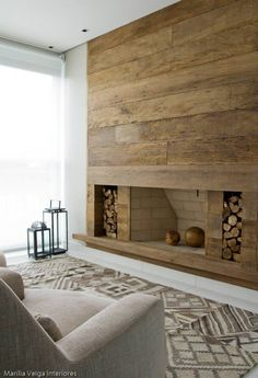 Reclaimed wood hung horizontally makes a lot of impact in a room.