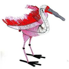 Handmade Life-Size Beaded Roseate Spoonbill Handmade and Fair Trade. This finely beaded Roseate Spoonbill is approximately 21 inches tall, and has an 18 inch wingspan. Rustic Vintage Home Decor Figurines Products | Nature Raw Mood Figurine GIFT IDEAS