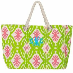 Monogrammed Aztec Print Tote Bag with Rope Handles $29.95