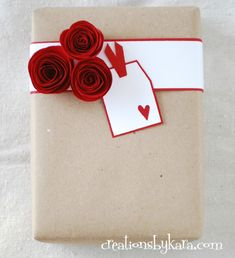 Rolled Paper Roses Gift Wrapping Ideas