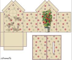 six box house template-free printable Miniture Dollhouse, Dollhouse Miniatures, Templates Printable Free, Printables, Box Templates, Kirigami, Envelope Tutorial, Art Carte, House Template