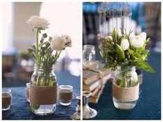 Mason Jars for flower pots with twine wraps