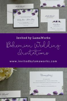 Invite your wedding guests with a beautiful, modern lilac and purple bohemian floral watercolor pocket invitation.  Design your custom wedding invitations today with Invited by LamaWorks