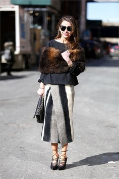 Slit front skirt and a fur wrap. #NYFWp