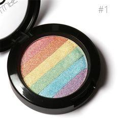 FOCALLURE Rainbow Highlighter Face Brightener Bronzer Contour Kits Shimmer Glow Kit Powder Highlighter Rainbow Makeup