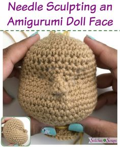 Tutorial – Needle Sculpting an Amigurumi Doll Face Make eye sockets and a nose for your amigurumi dolls! Needle sculpting adds contours to an otherwise smooth surface by adding and tightening small stitches to. Crochet Dolls Free Patterns, Crochet Doll Pattern, Amigurumi Patterns, Amigurumi Doll, Doll Patterns, Clothes Patterns, Crochet Eyes, Crochet Baby, Free Crochet