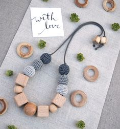 Eco Cube Teething Necklace – Blue Brontide