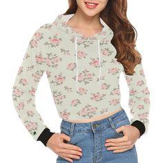 """Sweat Crop Top """" Roses"""" Unicorn Pattern, Pink Patterns, Cropped Hoodie, Print Design, Floral Tops, Creations, Crop Tops, Hoodies, Long Sleeve"""