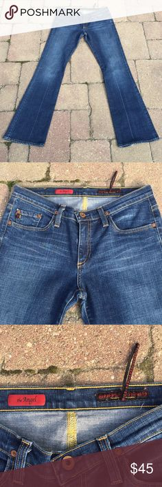 Adriano Goldschmied The KISS Jeans 28 x 33 Adriano Goldschmied The KISS Jeans, five pocket jeans, size 28, rise 8 inches, inseam 33 inches, one frayed hem, as pictured, pictures are part of the description. Ag Adriano Goldschmied Jeans Boot Cut