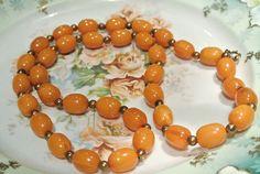 Vintage Bakelite Butterscotch Necklace Gold by PattysPorcelainEtc
