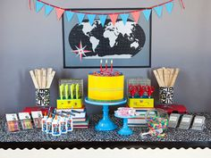 Pencil cake and composition book table cover!