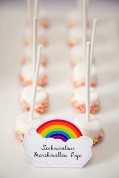 Rainbow sprinkles and marshmallow pops