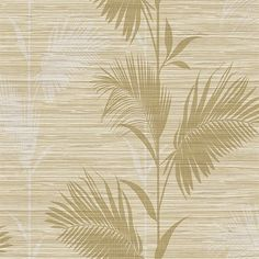 Away On Holiday Beige Palm  Modern Botanical Designed pattern, Give your walls a modern and fresh look with this palm print wallpaper. The chic botanical design gets a fresh look in a monochrome beige colorway. Thin strings add a textured finish.