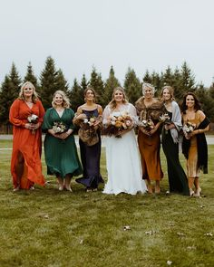 Mismatched jewel colored bridesmaid dresses | Image by Mo Speer Photography Wedding Blog, Wedding Styles, Wedding Gowns, Dream Wedding, Fall Wedding, Retro Color Palette, Gowns Of Elegance, Dress Images, Unique Colors