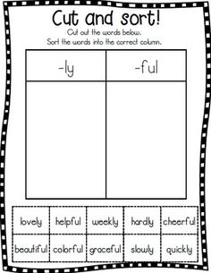 Word Work: Suffixes -ly and -ful