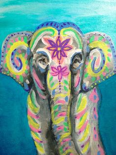 Original oil painting on a 5 x 7 birch panel of a festive, decorated baby Asian elephant in honor of the Hindu god Ganesha who is also known as the remover of obstacles. Painting will arrive wired in the back ready to display.