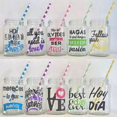 I like the yellow one Crafts To Sell, Diy And Crafts, Ideas Para Fiestas, Silhouette Projects, Party Time, Mason Jars, Baby Shower, Gifts, Handmade