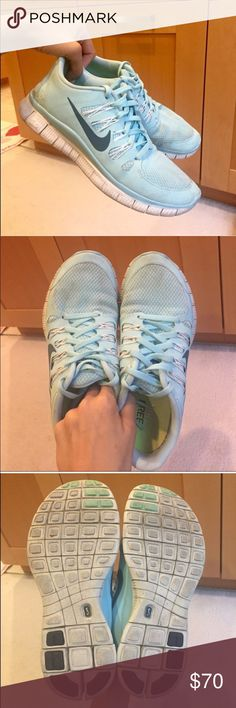 """🌸 RARE Glacier Nike Free Runs 5.0 Very Good Condition, Cleaned Worn Quite a few times, but still has a lot of life in them PRICE IS FIRM  Questions? Feel free to ask! Love it? click """"Buy Now""""! Love something else too? Bundle & Save!  Top Rated Seller Fast Shipper Top 10% Seller Posh Mentor Suggested User Nike Shoes Athletic Shoes"""