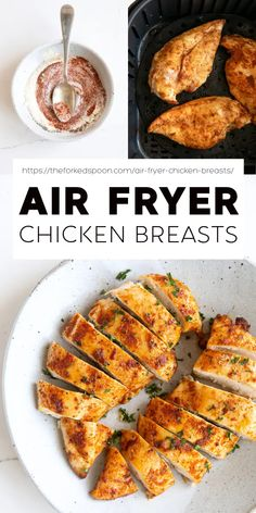 Perfect Air Fryer Chicken Breasts that are tender, juicy, and delicious every time. Make this easy, foolproof recipe for a fast and simple weeknight dinner, or use it in your favorite meal prep recipes. Easy Clean Eating Recipes, Clean Eating Desserts, Easy Healthy Recipes, Recipe Using Chicken, Chicken Recipes, Air Fryer Recipes Easy, Clean Eating Breakfast, Easy Weeknight Dinners, Dinner Recipes