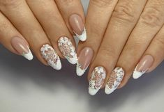 50 Top Best Wedding Nail Art Designs to Get Inspired Lace Nails, Flower Nails, Pink Nails, Bride Nails, Wedding Nails, French Nails, Shellac Nails, Acrylic Nails, Round Nails