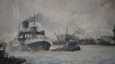 SPECIAL REDUCED PRICE-Original Oil Painting of Tilbury Docks 1950s- Working Steam Ship Oil Painting Signed By The Artist - Frank Edwards by LuckSy on Etsy