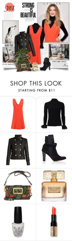 """""""Orange Is The Happiest Color"""" by thewondersoffashion ❤ liked on Polyvore featuring T By Alexander Wang, Oscar de la Renta, Balmain, Ulla Johnson, Burberry, Givenchy, OPI and Bobbi Brown Cosmetics"""