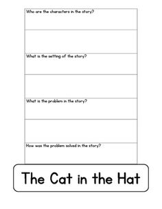 Updated After reading the story Cat in the Hat students can complete the graphic organizer. The hat cat be cut out and stapled to a sentence strip for students to wear as a hat! Sentence Strips, Graphic Organizers, Teacher Pay Teachers, Teacher Newsletter, Teaching Tools, First Grade, Sentences, Homeschooling, School Stuff