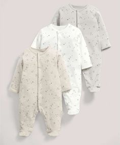 Three Pack of Sand Star All-in-Ones - Baby Basics - Mamas & Papas
