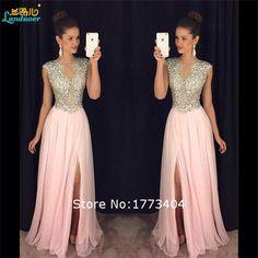 2016 Vestidos espumoso moldeado de la raja del lado rosa vestidos de noche vestidos de festa partido formal hecha por encargo más el tamaño de trabajo hecho a mano