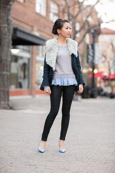 Cozy Walk :: Drape collar jacket & Sky blue pumps - Wendys Lookbook