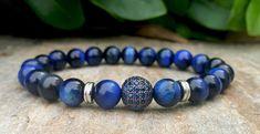 Mens Blue Tigers Eye Bracelet, Blue Sapphire Diamonds Ball in Black Silver, Natural Gemstone Bracelet, Men Jewelry, Birthday Gift For Him #men'sjewelry