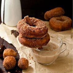 Doughnuts, Chocolate Sauce and Chai Tea. Delicious Fall Treat!