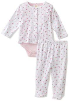 ABSORBA Baby-Girls Newborn 3 Piece Cherry Print Cardigan, Bodysuit and Pant Set
