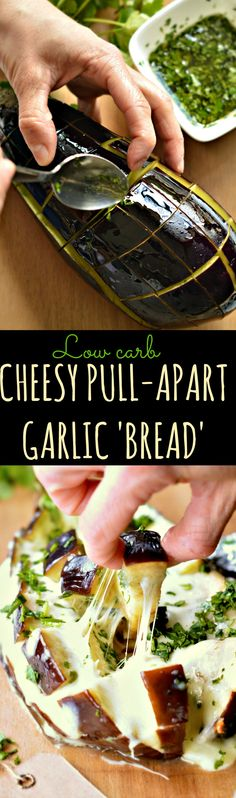 Low Carb Cheesy Pull-Apart Garlic 'Bread' made a little bit healthier using eggplant as a base and low fat grated mozzarella. #eggplant #garlic #bread #lowcarb #mozzarella #cheesy #garlicbread #coriander #oliveoil