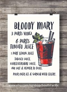 Bloody Mary printable | Cocktail Illustration | Bar Decor | Cocktail art | Kitchen decor | Vodka Classic cocktail | Printable