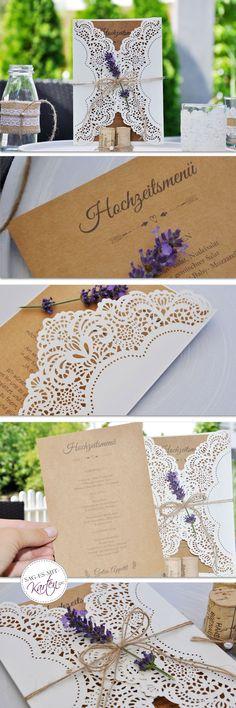 Menükarten Hochzeit Vintage Kraftpapier Aufsteller Place Cards, Place Card Holders, Kraft Paper, Thanks Card, Invitations