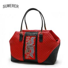 2018 New Women Genuine Leather bag luxury handbags women bags designer Cowhide women bags handbags fashion Hand embroidery  #BabagalaMyshopifyCom