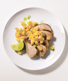 Caribbean Tenderloin With Mango Salsa recipe from realsimple.com #myplate #protein