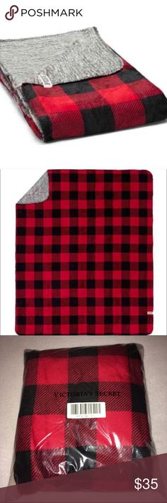 VS PINK Red & Black Plaid/Gray Reversible Blanket Super soft and Plush! Brand new in package. Measures 50x60. Check out my other listings to bundle and save 25% 😎! PINK Victoria's Secret Other
