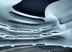 With futuristic architecture design by Zaha Hadid Architects, Taichung Metropolitan Opera House is a dramatic new cultural locale and important landmark for the Taichung city, Taiwan Opera House Architecture, Futuristic Architecture, Architecture Design, Drama Theatre, Theater, Theatre Stage, 3d House Plans, Metropolitan Opera, Theatre Design