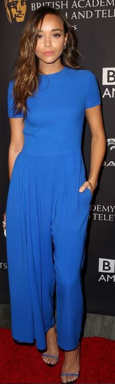 Who made Ashley Madekwe's blue jumpsuit, sandals, and clutch handbag that she wore in Beverly Hills on August 23, 2014