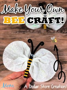 Easy Bee Craft- Another Great Dollar Store Creation! #craft #dollarstorecraft #easycraft #diy Cute Kids Crafts, Bee Crafts, Creative Crafts, Crafts To Make, Easy Crafts, Family Crafts, Kids Fun, Kids Craft Supplies, Craft Projects For Kids