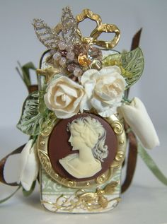 Jane Austen Inspired Cameo Domino Book - cover - Artfully Musing - (image 1 of Altered Book Art, Altered Tins, Altered Bottles, Domino Art, Shabby, Domino Jewelry, Resin Jewelry, Domino Crafts, Calla Lilies