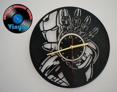 Ironman Wall Clock Upcycled Vinyl Record LP  Marvel by VinyloUSA