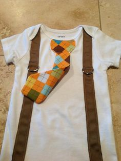 ADORABLE necktie/suspenders onsie!  Definitely gonna have to make a few of these!
