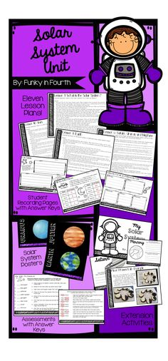 Solar System Unit (appropriate for grades 2-5) by Funky in Fourth. Includes eleven lesson plans, student recording pages with answer keys, extension activities, solar system posters and pre and post assessment with answer keys!