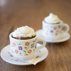 Tiny Tea-flavored Cupcakes with Lemon Frosting.